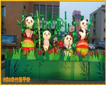 国宝熊猫彩灯制作